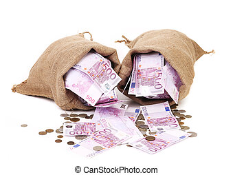 Two bags with much money Isolated on a white background