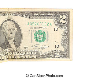 Two dollar bill close-up on white