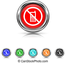 Mobile phone restricted icon - six colours set - Shiny...