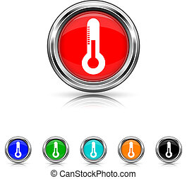 Thermometer icon - six colours set