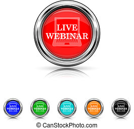 Live webinar icon - six colours set - Shiny glossy icons -...
