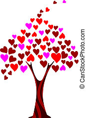 Stylized tree made of hearts Valentine card