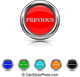 Previous icon - six colours set - Shiny glossy icons - six...