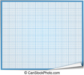 Graph Paper - Graph paper with curl on white background,...