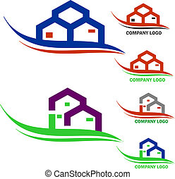 Real estate company logo - collection of home and real...