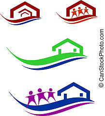 People and home logo set - collection of construction and...