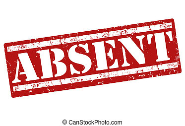 Absent stamp - Absent grunge rubber stamp on white, vector...