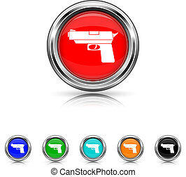Gun icon - six colours set - Shiny glossy icons - six...