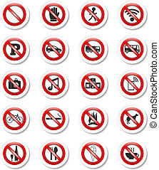 Prohibition Signs - Set of stickers with prohibition signs,...