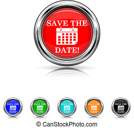 Save the date icon - six colours set - Shiny glossy icons -...