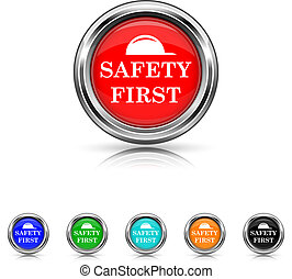 Safety first icon - six colours set