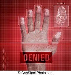 Fingerprint Security - Denied - Futuristic fingerprint...