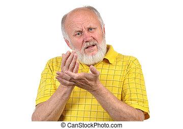 angry senior bald man