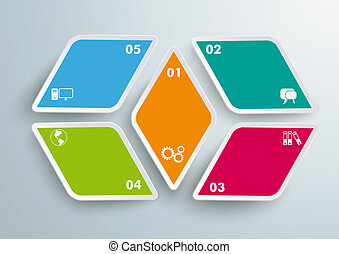 4 Rhombus Pieces 5 Options - Colored rhombus pieces on the...