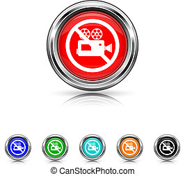 Forbidden video camera icon - six colours set - Shiny glossy...