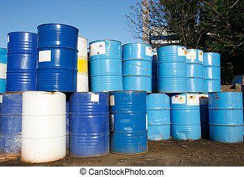 oil barrels - Blue and white oil barrel container drums in...