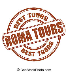 roma tours grunge stamp on whit vector illustration