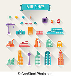 Cityscape icon set of buildings