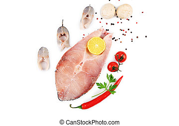 Composition of carp and seabass fresh steaks. Isolated on a...