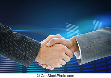 Composite image of business handshake against glowing blue...
