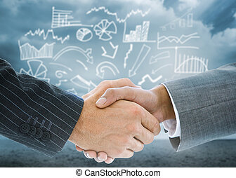 Composite image of business handshake against signpost...