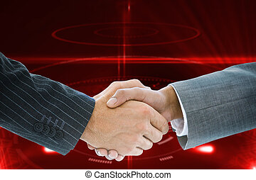 Composite image of business handshake against shiny red...
