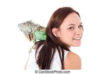 niña, iguana