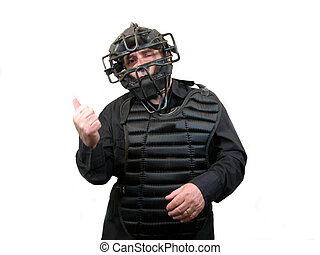 You\'re Out - An umpire with a mask and chest protector with...