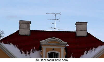 The big old manor house in Estonia Baltic with an antenna