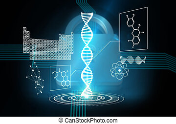 Composite image of dna helix interface - DNA helix interface...