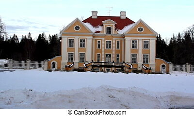 The view of a big old manor house in Estonia Baltic