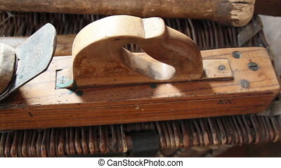 A planer tool use for carpentry - A brown big planer...