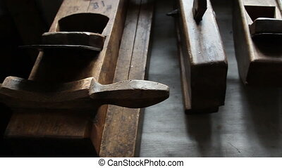 Wooden carpentry tools on the table - Set of old wooden...