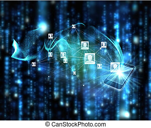 Composite image of social network background - Social...
