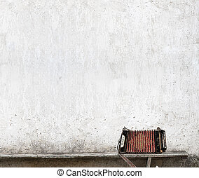 accordion on the bench - accordion on the bench near the...