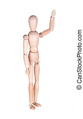 Wooden figure with the hand raised up