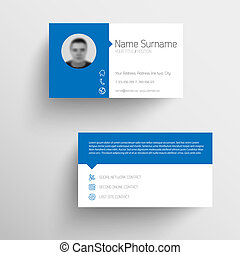 Modern blue business card template with flat user interface...