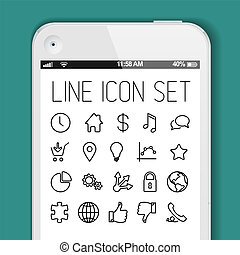 Simple Modern thin icon collection for smart phone...