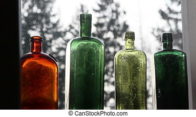 Set of colored wine bottles - Set of colored unused wine...