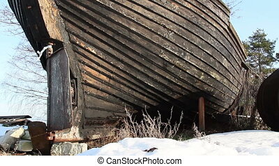 An abandoned wrecked boat - An abandoned wrecked wooden boat...