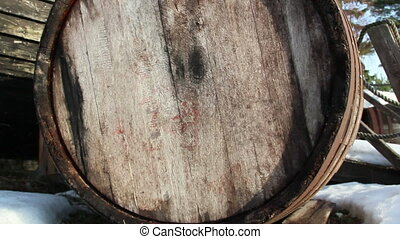 The old barrel beside the wrecked boat - The bottom part of...