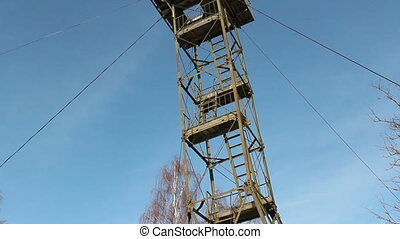The steel tower placed on top of a mountain