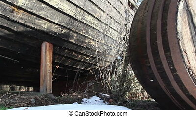 The bottom part of the wrecked boat - The bottom part of the...