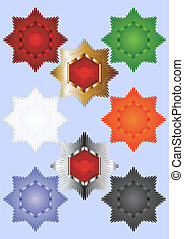 Eight-pointed star. - Decorative colored star with a...