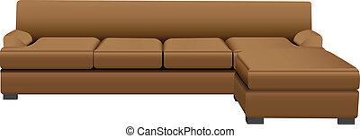 Sectional Sofa - Sectional sofa with attached leather...