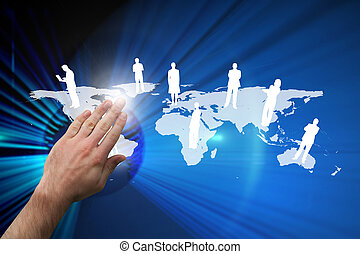 Composite image of hand presenting - Hand presenting against...