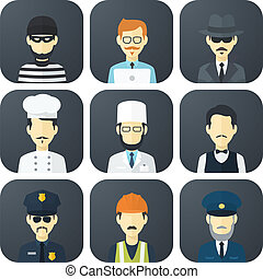 Occupations Icons Set - Set of App Flat Icons with Man of...