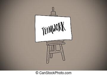 compuesto, imagen, trabajo en equipo, texto, caballete