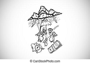 Composite image of good finance vs bad finance doodle