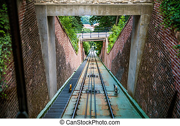 Moving funicular - View on cable railroad from cabin of...